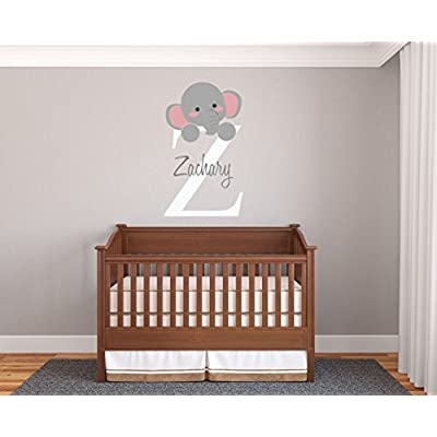 Personalized Name & Initial Elephant - Prime Series - Baby Girl/Boy - Nursery Wall Decal For Baby Room Decorations - Mural Wall Decal Sticker For Home Children's Bedroom(MM95) (Wide 17