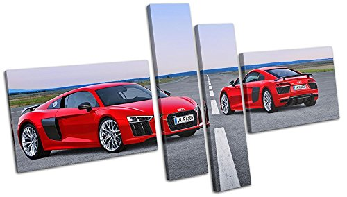 Bold Bloc Design - Audi R8 Exotic Supercar Cars 120x68cm MULTI Canvas Art Print Box Framed Picture Wall Hanging - Hand Made In The UK - Framed And Ready To Hang by Bold Bloc Design