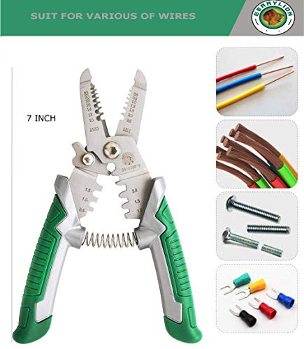 Wire Stripping Tool Crimper Insulated, Wire Strippers and Crimpers for Professional Electrician | 3 in 1 Multi-Function 7-Inch Crimping Pliers (10-22 AWG) with Cutter and Spring Made From CRV Steel by Berrylion (Image #2)