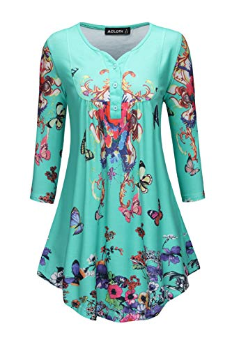 Acloth Women Paisley Henley Tunic Top Pleated Long 3/4 Sleeve Flared Blouse V Neck (3/4 Sleeve Turquoise, XXX-Large)