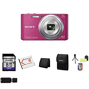 Sony DSC-W730/P 16.1 MP Digital Camera with 2.7-Inch LCD (Pink) + Extra NP-BN1 Battery + 8GB SDHC Class 10 Memory Card + Memory Wallet + Sony LCS-BDE Small Soft Camera Case for Sony Cybershot Cameras + Table Top Tripod, Lens Cleaning Kit, LCD Protector + USB SDHC Reader