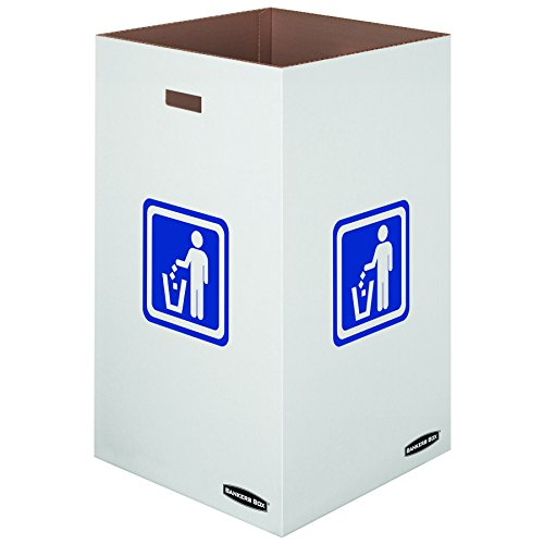 Bankers Box Medium Corrugated Cardboard Trash and Recycling Containers, 42 Gallon, 10 Each (7320101) - Corrugated Trash Receptacle