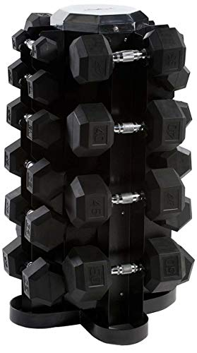 CAP Barbell Rubber Hex Dumbbell Set, 550-Pound (Best Dumbbell Exercises For Muscle Mass)