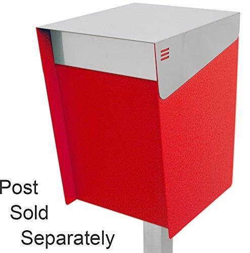 KATANABOX ''Mega'' - Stainless Steel Post-Mount Modern Design Mailbox, Lockable (Red) by KATANABOX (Image #1)
