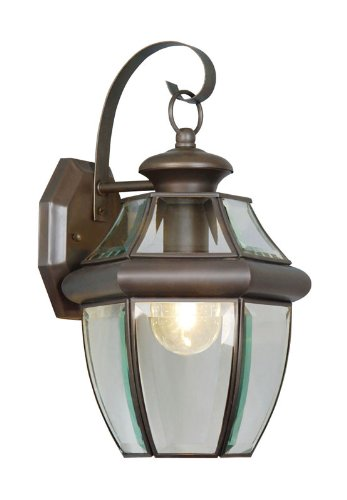 Livex Lighting 2151-07 Monterey 1 Light Outdoor Bronze Finish Solid Brass Wall Lantern  with Clear Beveled Glass