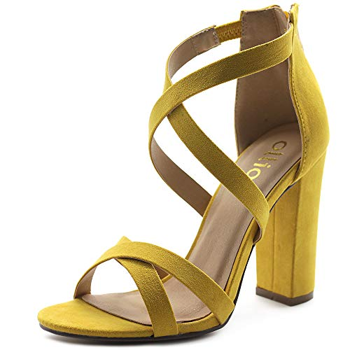 - Ollio Women's Shoes Faux Suede Ankle Toe Cross Strap Zip Up High Heels Pumps Sandals H98 (10 B(M) US, Yellow)