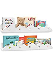 URBN White Two Shelf Set Wall Mounted Floating Shelves 22 inch, Book Storage Ledge Organizer Home Decor Display for Nursery or Kids Room