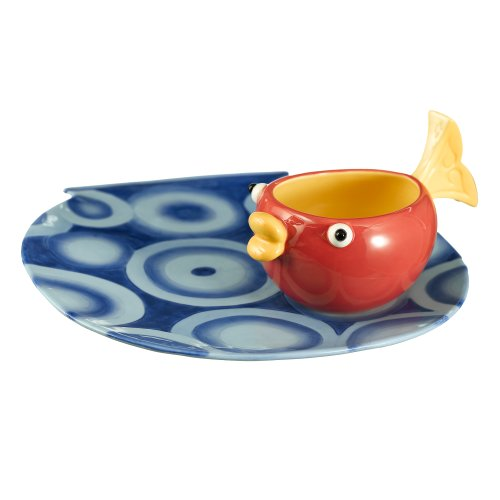 - Grasslands Road Studio 100 Making Waves 10 by 10-3/4-Inch Fish Bowl Shaped Platter with Fish Tail Handle Dip Bowl, 2-Piece Set
