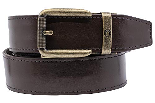 2019 Rogue EDC Espresso Leather Gun Belt for Men with High Strength Nylon Backing and Ratchet Buckle - Nexbelt Ratchet System Technology