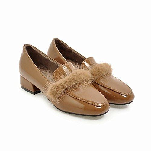 Charme Voet Dames Retro Winter Fluwelen Voering Lakleder Loafers Schoenen Abrikoos
