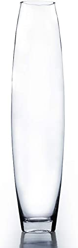 WGV Tall Bullet Glass Vase Bulk, Width 4.3 Height 16 Elegant Clear Oval Urn Floral Planter Container Storage Centerpiece Display for Wedding Party Ceremony Event Office Home Decor, 12 Pieces