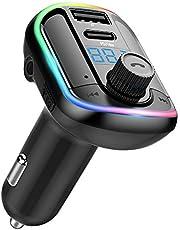 Wodgreat FM-zender voor auto bluetooth auto adapter draadloze FM-radiozender handsfree auto kit, 10 kleuren LED backlit type-c poort PD 18W auto spanning display, ondersteuning U schijf/TF-kaart/AUX-ingang