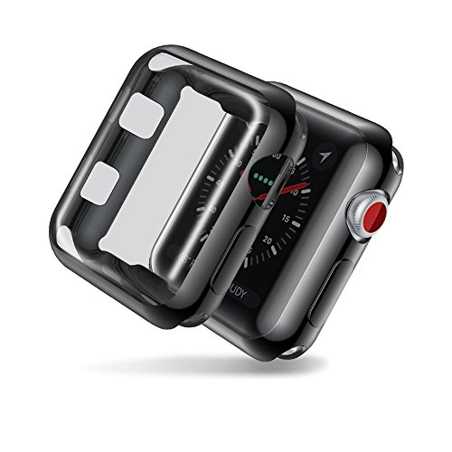 Auskic Apple Watch Screen Protector 42mm, Apple Watch Series 3 Case 42mm Apple Watch Cover Protective Case Apple Watch Protector Clear iWatch Screen Protector for Apple Watch Series 3 Series 2 (Black) by Auskic