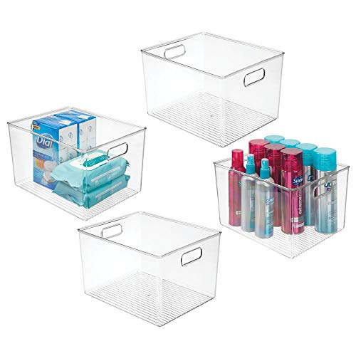 mDesign Plastic Storage Organizer Bin Tote for Organizing Bathroom Hand Soaps, Body Wash, Shampoo, Lotion, Conditioners, Hand Towels, Hair Accessories, Body Spray, Mouthwash - 8