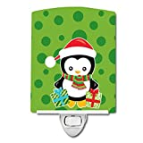Caroline's Treasures Christmas Ceramic Night Light, Penguin Presents, Green, 6'' x 4''