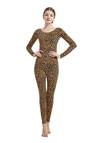 Full Bodysuit Womens Long Sleeve One Piece Jumpsuit Lycra Spandex Zentai Unitard (Large, Leopard)