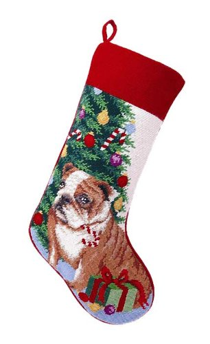 Brown English Bulldog Dog Wool Needlepoint Christmas Stocking, 11 x 18 Inch