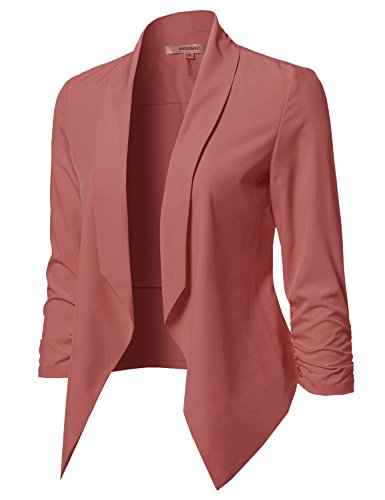 Awesome21 Womens Solid Open Front Shirring Sleeve Blazer
