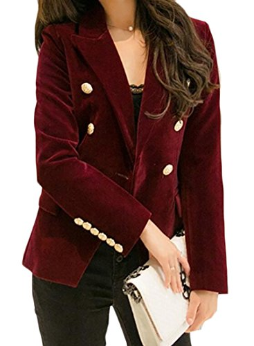 MLG Women's Slim Fit Double Breasted Velvet Office Blazer Coat Jackets Wine red US L