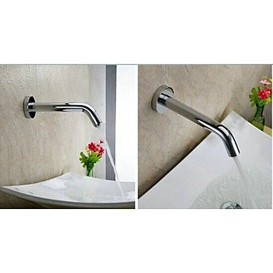Furesnts Modern home kitchen and bathroom faucet Electronic Automatic Sense Basin Tap Wall Mount Water Saving Faucet Battery Or 220V Power , silver ,(Standard G 1/2 universal hose ports)