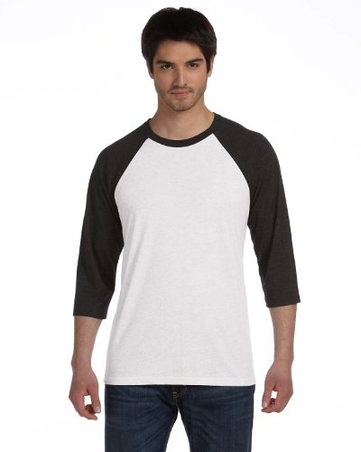 - Bella + Canvas Unisex 3/4-Sleeve Baseball T-Shirt XS WHT FLCK/ CHR TR