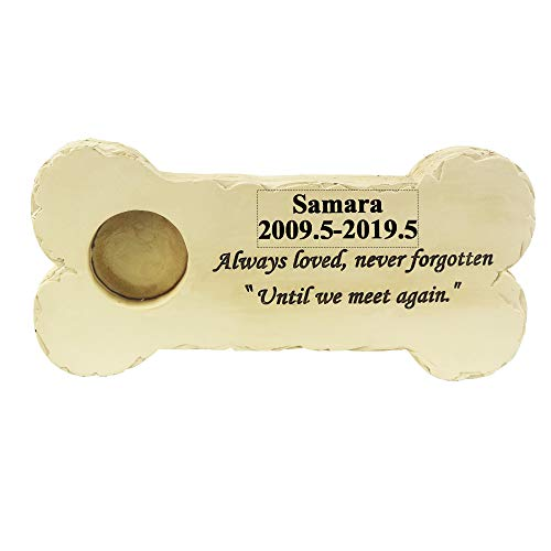 BJSM Personalized Pet Memorial Step Stone, Custom Made Remembrance Garden Stone with Pet Name - Outdoor Indoor Dog or Cat - Loss of Pet Sympathy Gift (Bone Stone) ()