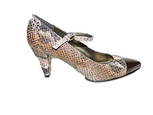Stuart Weitzman Women's Capantibe Embossed Snakeskin Heels Patent Leather Toe Pumps Size 6 ()
