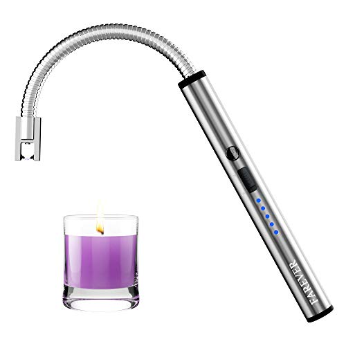 FAREVER Candle Lighter, Rechargeable Electric Arc Lighters USB Long Flexible Neck Lighter with LED Battery for Candles Camping Cooking BBQs, Silver
