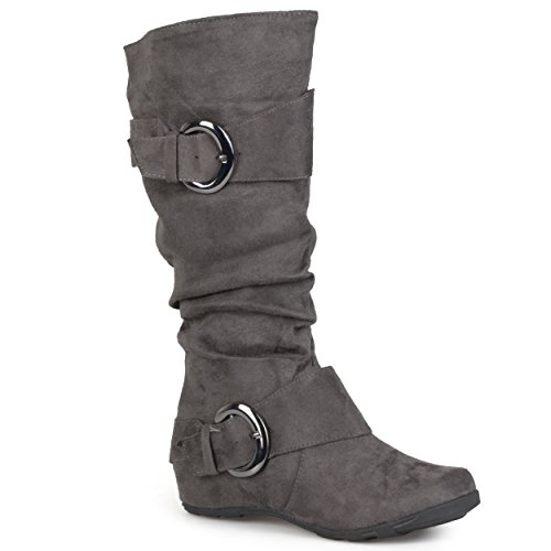 b2b1c23de57 Journee Collection Womens Extra Wide Calf Slouch Buckle Knee High Boots
