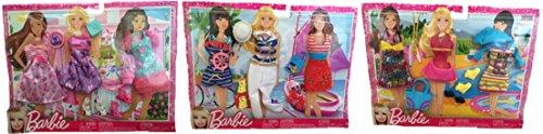 Mattel Barbie Fashionistas Barbie Dress Set, Nautical Sailor Outfits Set & Casual Fashion Set Bundle