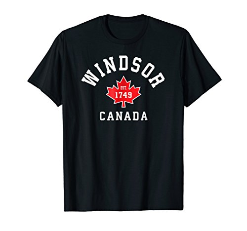 (Windsor Canada T-Shirt Canadian Flag Maple Leaf Gift Tee Eh)