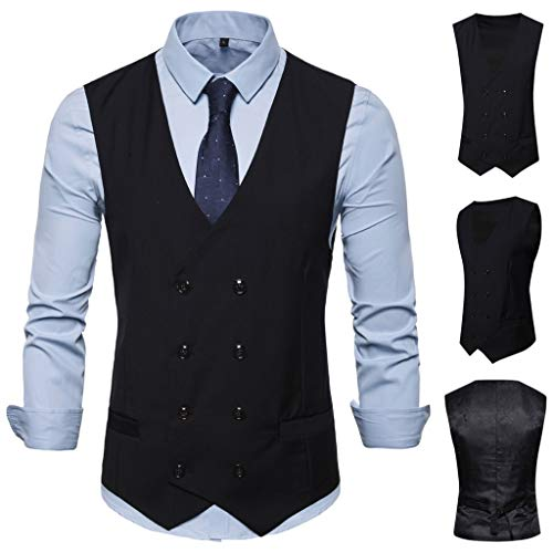 (♛TIANMI Men's Fashion Business Casual Wedding Waistcoat Tops Vest Jacket Top Coat(Black,XL))