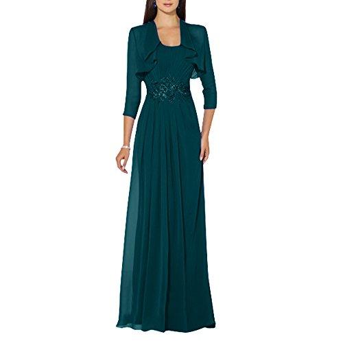 Abendkleider Brau 3 Partykleider Chiffon mia 4 Elegant Bolero Langarm Festlichkleider Brautmutterkleider Tuerkis Langes La Dunkel Ballkleider mit npxXzxP
