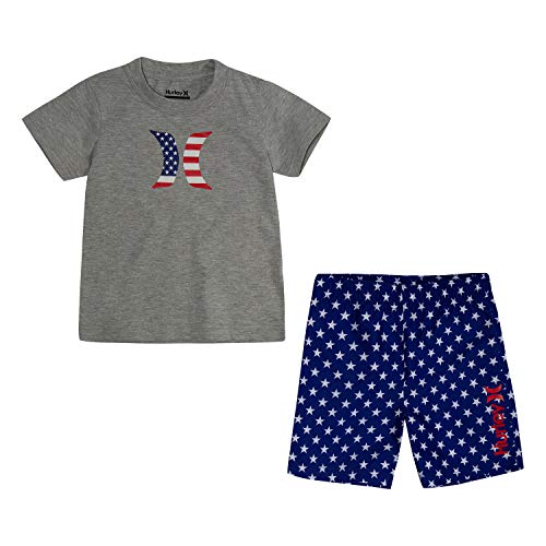 Hurley Baby Boys' Toddler Graphic T-Shirt and Shorts 2-Piece Outfit Set, Deep Royal Blue/Americana, 3T ()