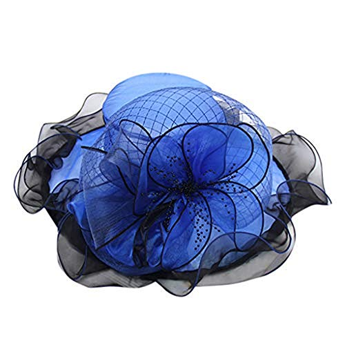 Landscap Fascinators Hat Church Derby Cap Kentucky Tea Party Wedding Hat Headwear for Girls and Women Blue