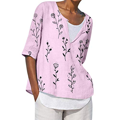 NRUTUP Plus Size Women V-Neck Printing Middle Sleeve T-Shirts Easy Tops Blouses(Pink,XXL)
