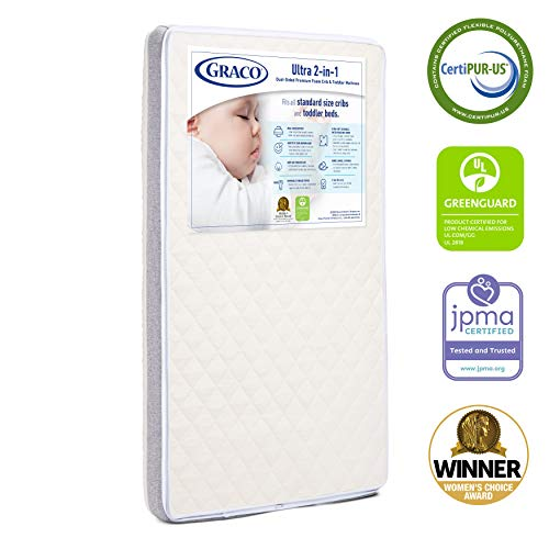 41LfueckCLL - Graco Ultra Dual-Sided Premium Crib And Toddler Mattress – 2 Sides For Baby And Toddler, CertiPUR-US, GREENGUARD, JPMA Certified Crib And Toddler Bed Mattress, Water-Resistant, Machine-Washable Cover