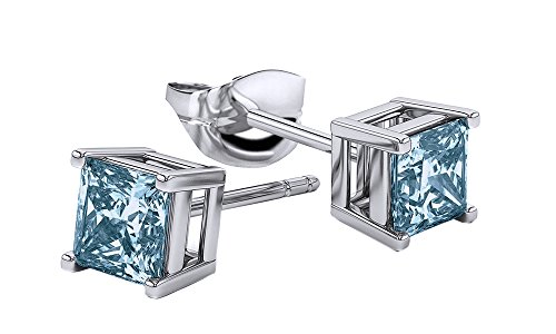 Square Princess Cut Simulated Aquamarine Stud Earrings in 14k White Gold Over Sterling Silver (3 cttw) (Aquamarine Square Earring)