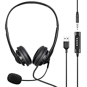 Headphones with Mic PC USB Headset/3.5mm,Headsets with Microphone Wired Noise Cancelling & Audio Controls, Multi-Use…