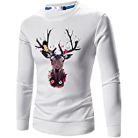 Challyhope Men Fall Long Sleeve Cute Deers Print Pullover Sweatshirt Tee Shirts Tops