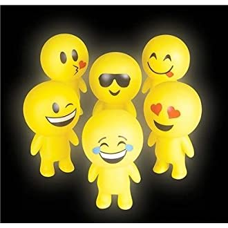 "6"" Squeaky Light Up Blinking Emoji Smiling Guys Figure, 12 pieces in a display box."