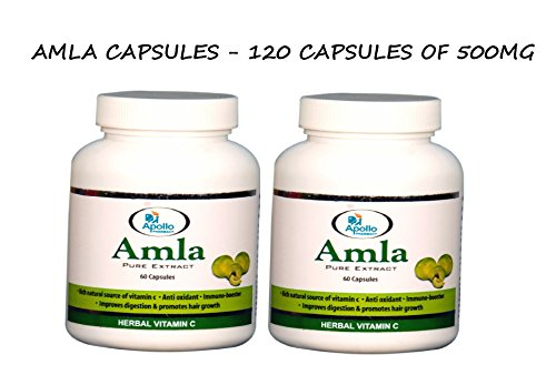 Amla Capsules / Amalaki Indian Gooseberry / Emblica Officinalis 500mg 60 Vegetarian Capsules – Rich in Vitamin C – Apollo Pharmacy (No #1 in Indian Pharmacy) – Pack of 2 Review