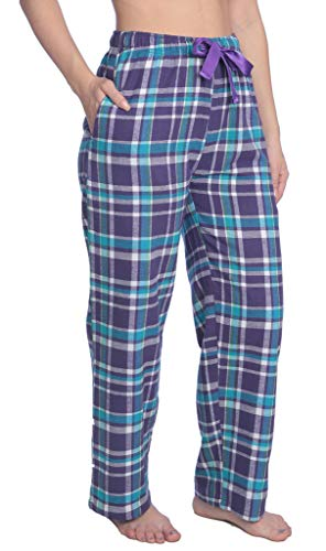 L#- Womens 100% Cotton Flannel Plaid Lounge Pants Available in Plus Size Y18_WFP Purple/Aqua ()