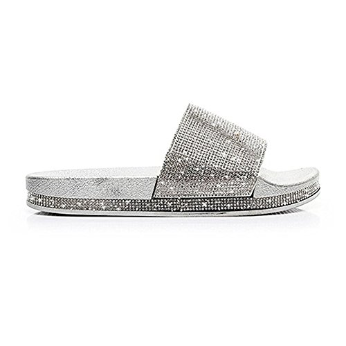 Slip Sparkle for Roman Slippers Comfy Women Walking Dress Ladies Sandals Silvery Fashion on Flat Glitter Sequins wz6qw5Sx10