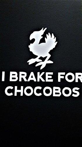 Chocobo Final Fantasy Inspired I Brake For Chocobo Vinyl Decal Sticker WHITE Cars Trucks Vans SUV Laptops Wall Art 6.5