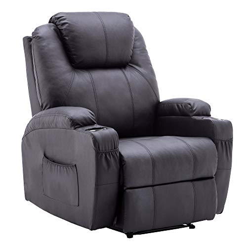 (Power Recliner Massage Ergonomic Sofa Vibrating Heated Lounge Chair Faux Leather Dual Cup Holders 7050 (Black))