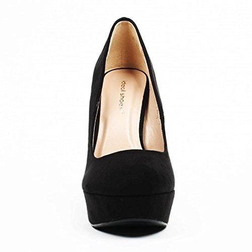 King Of Shoes Klassische Damen Pumps Stilettos High Heels Plateau Abend Schuhe Bequem 21 Schwarz 921