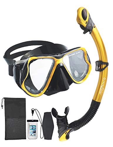 OMGear Snorkel Set Snorkeling Mask Dry Snorkel with Neoprene Mask Strap Waterproof Phone Case for Swimming Scuba Diving Freediving (Gold)