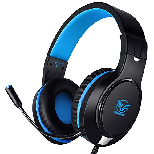 Karvipark H-10 Gaming Headset for Xbox One/PS4/PC/Nintendo Switch|Noise Cancelling,Bass Surround Sound,Over Ear,3.5mm Stereo Wired Headphones with Mic for Clear Chat (BLUE) (Best Budget Headset Microphone)