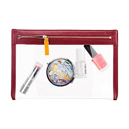 Kosmetiktasche Leder   Schminktasche für Handtasche   Makeup Tasche (Rot)